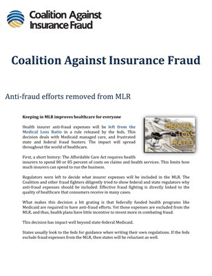 Coalition Against Insurance Fraud: Anti-fraud efforts removed from MLR