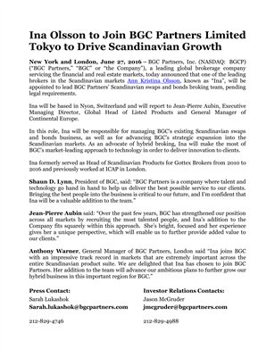 Ina Olsson to Join BGC Partners Limited Tokyo to Drive Scandinavian Growth