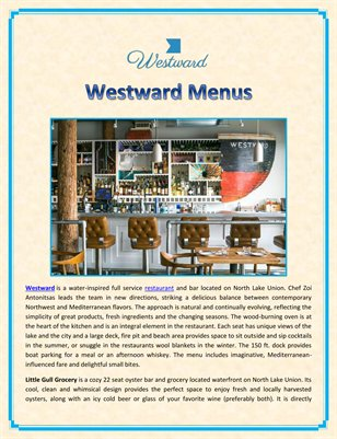 Westward Menus