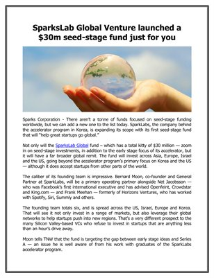 SparksLab Global Venture launched a $30m seed-stage fund just for you