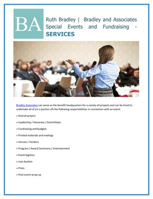 Ruth Bradley |  Bradley and Associates Special Events and Fundraising - SERVICES