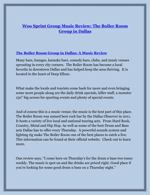 Woo Sprint Group Music Review: The Boiler Room Group in Dallas