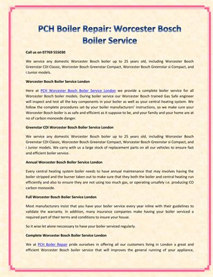 PCH Boiler Repair: Worcester Bosch Boiler Service