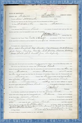 1925 State of Kentucky vs. FINIS REED, Graves County, Kentucky