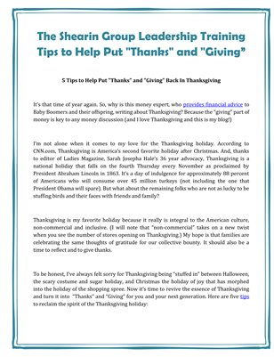 "The Shearin Group Leadership Training Tips to Help Put ""Thanks"" and ""Giving"""