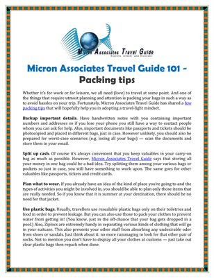 Micron Associates Travel Guide 101 - Packing tips