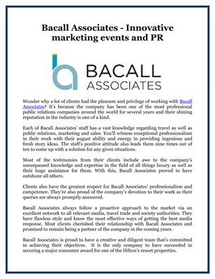 Bacall Associates - Innovative marketing events and PR