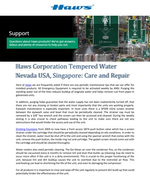 Haws Corporation Tempered Water Nevada USA, Singapore: Care and Repair
