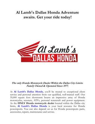 Al Lamb's Dallas Honda Adventure awaits. Get your ride today!