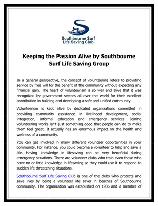 Keeping the Passion Alive by Southbourne Surf Life Saving Group