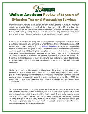 Wallace Associates: Review of 14 years of Effective Tax and Accounting Services
