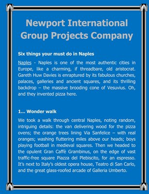 Newport International Group Projects Company
