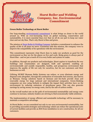 Hurst Boiler and Welding Company, Inc. Environmental Commitment