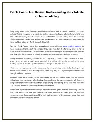 Frank Owens, Ltd. Review: Understanding the vital role of home building