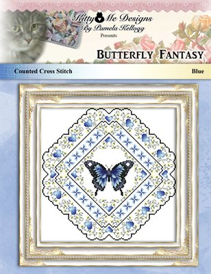 Butterfly Fantasy Cross Stitch Pattern Blue
