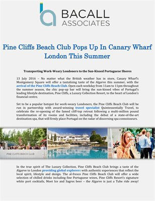 Pine Cliffs Beach Club Pops Up In Canary Wharf London This Summer