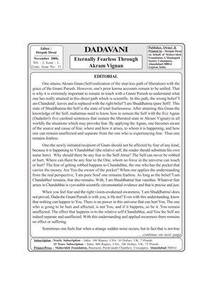 Dadavani Magazine | Eternally Fearless Through Akram Vig
