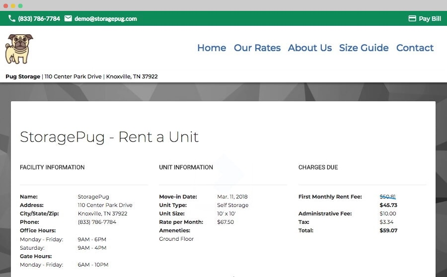 StoragePug's online Rental Stations allows storage facilities to rent units online