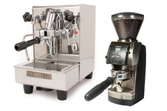 Expobar office lever and baratza vario with metal portaholder