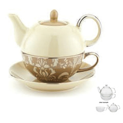 Yedi nouveau chic 14oz tea for one pot cup and saucer  beige