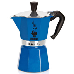Bialetti Moka Express Moka Color Stovetop Coffeemaker in Blue