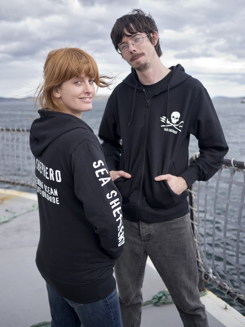 Sea Shepherd Jolly Roger Full-Zip Black Sweatshirt
