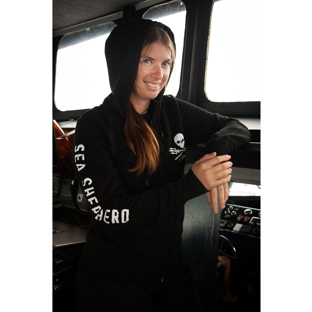 Sea Shepherd Jolly Roger Full-Zip Black Sweatshirt