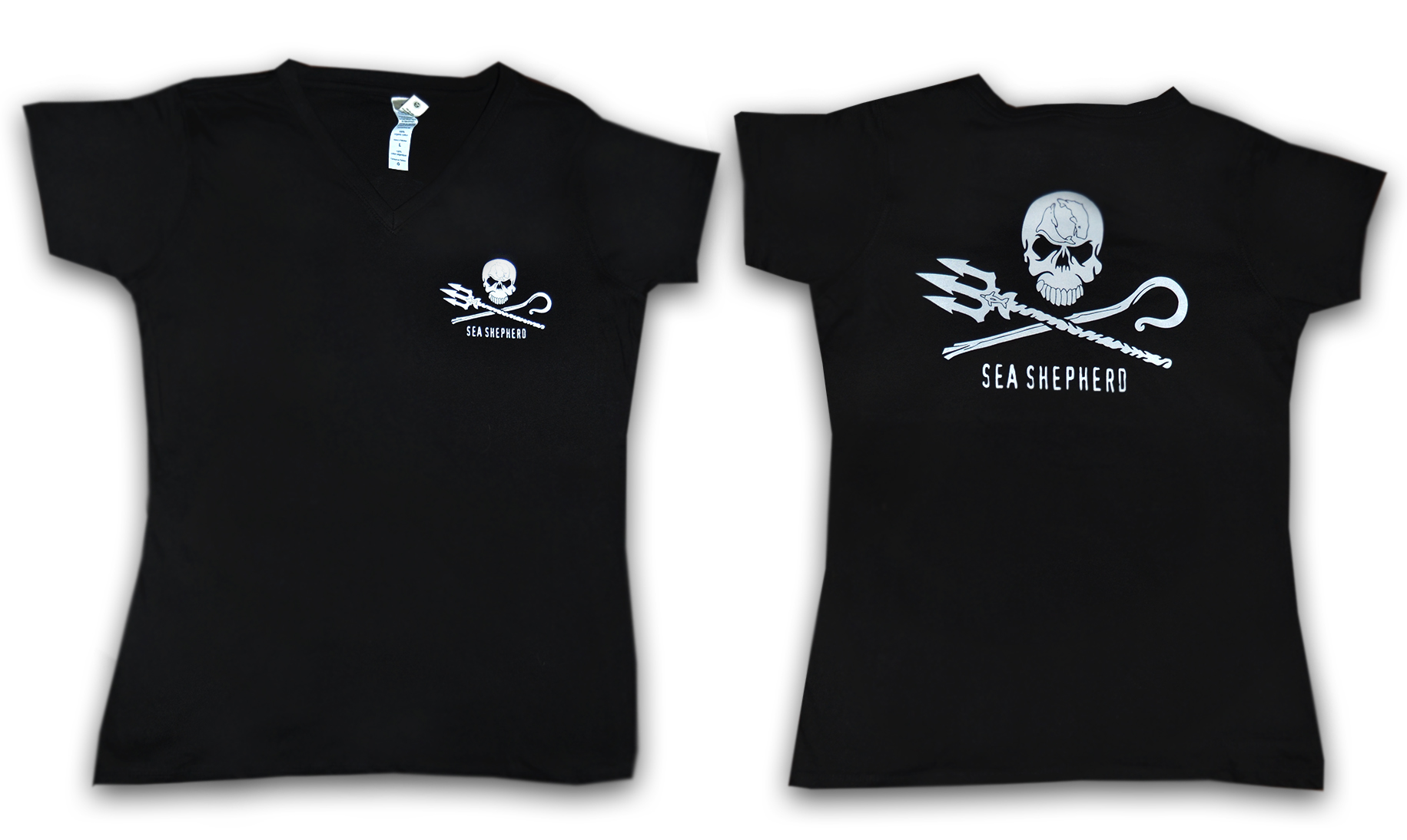 Women's Jolly Roger V-Neck Tee - 100% Organic Cotton