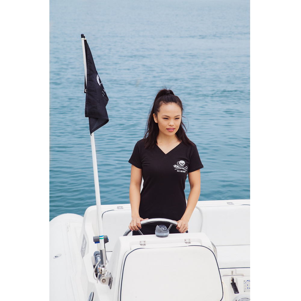 Women%27s Jolly Roger Dive V-Neck Short Sleeve Tee - 100% Organic Cotton