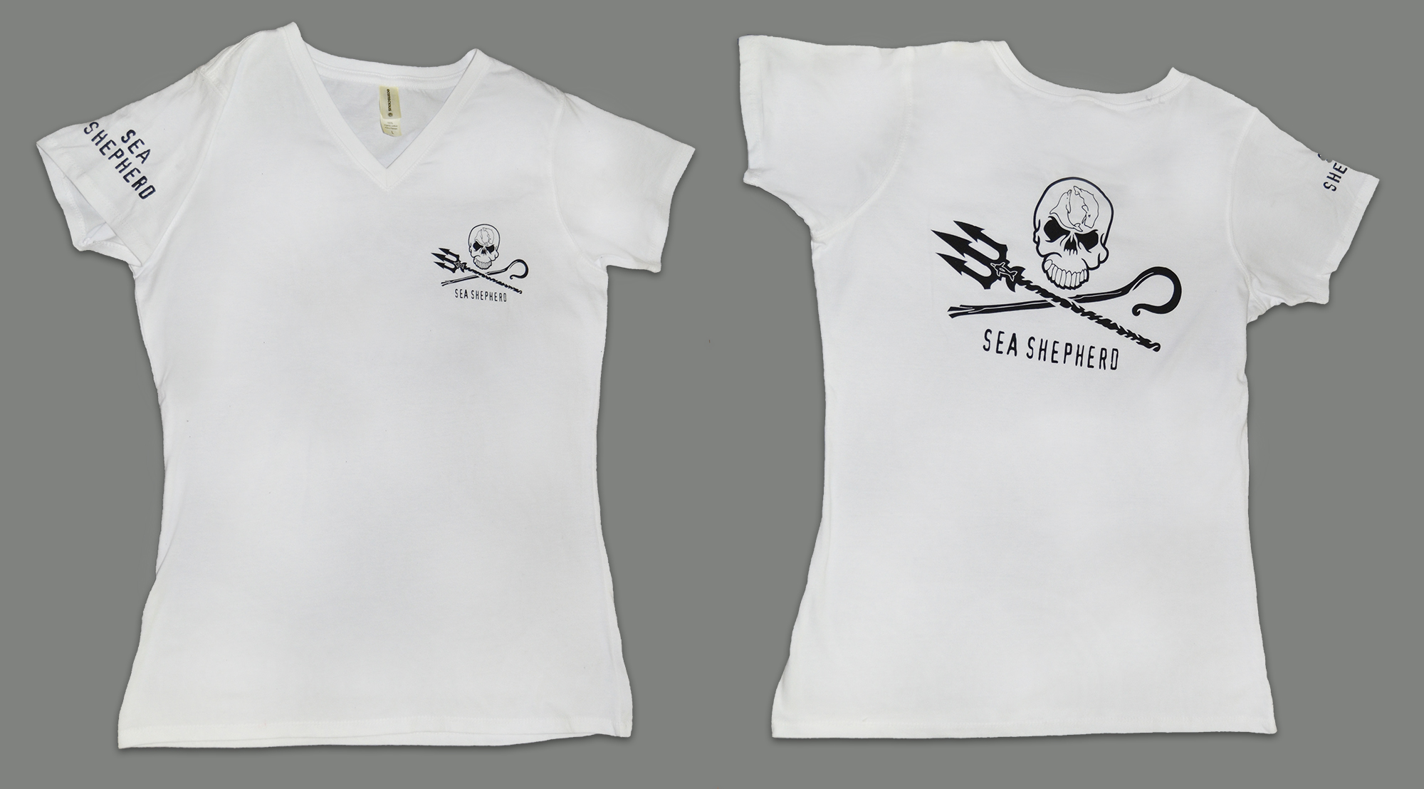 Women's White Jolly Roger V-Neck Short Sleeve Tee - 100% Organic Cotton