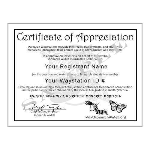 Monarch Watch Waystation Certification Application