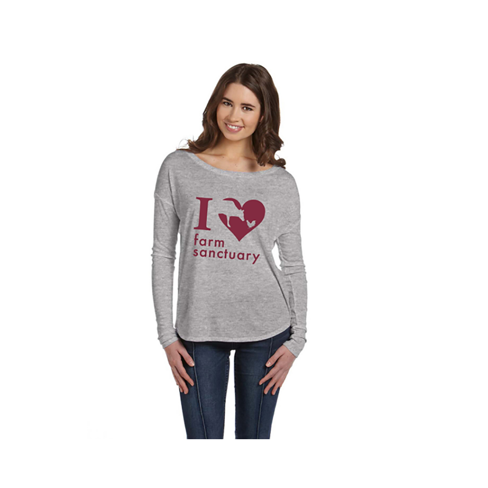 Farm Sanctuary Heart Long Sleeve Ladies Tee