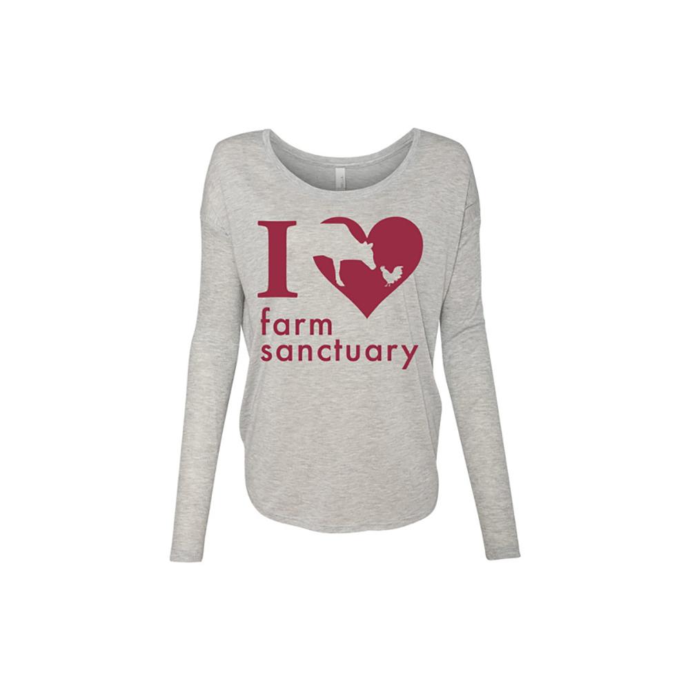 Farm Sanctuary Heart Long Sleeve Ladies Tee