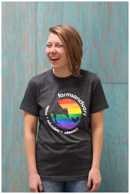 Farm Sanctuary Rainbow Logo Tee