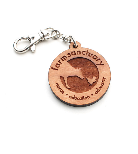Farm Sanctuary Wooden Logo Key Chain