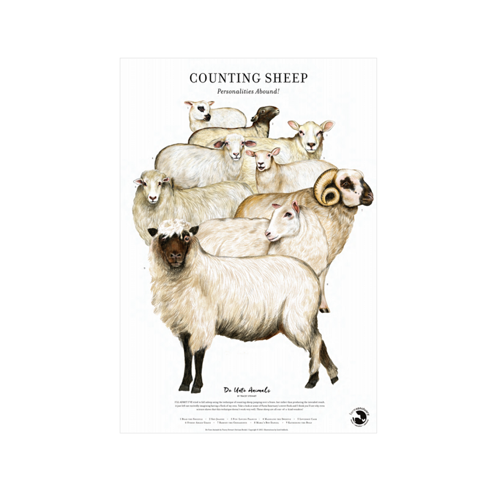 Counting Sheep Poster Print from Farm Sanctuary and Tracey Stewart