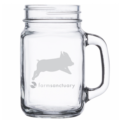 Farm Sanctuary Pig Mason Jar