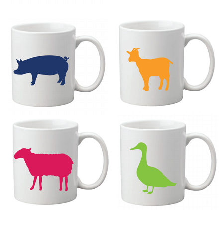 Farm Sanctuary Animal Mug Set