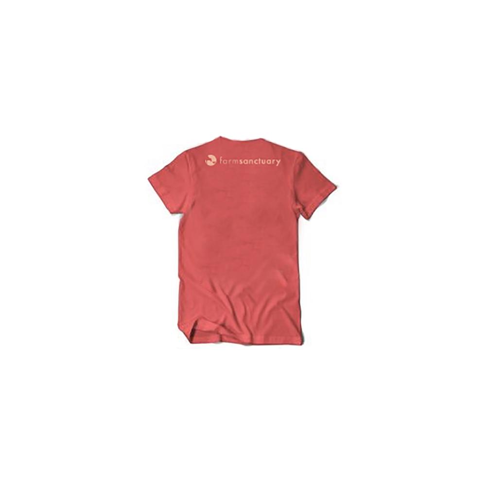 : Farm Sanctuary Distressed Logo Tee (Coral) - Back