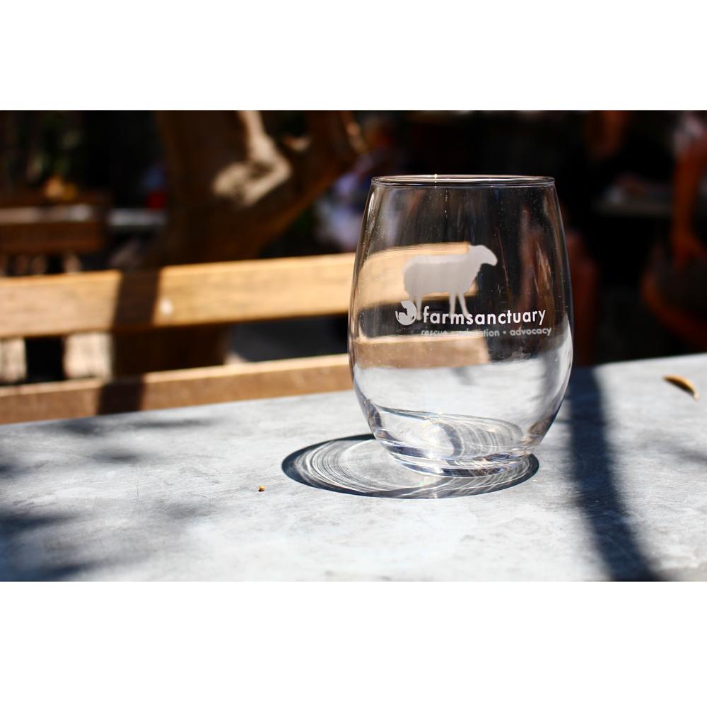 Farm Sanctuary Sheep Stemless Wine Glass