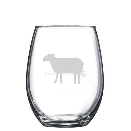 Sheep Stemless Wine Glasses farm sanctuary sheep stemless wine glass, farm animal rescue nonprofit stemless wine glass