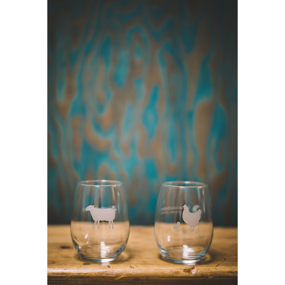 Farm Sanctuary Sheep and Hen Stemless Wine Glasses
