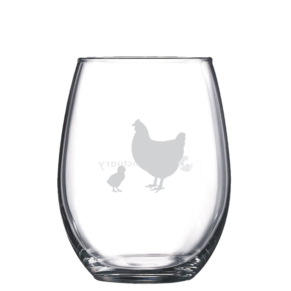 Farm Sanctuary Hen and Chick Stemless Wine Glass