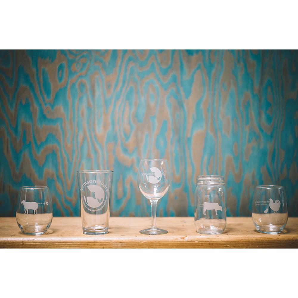 Farm Sanctuary Wine Glasses, Mason Jar, Pint Glass