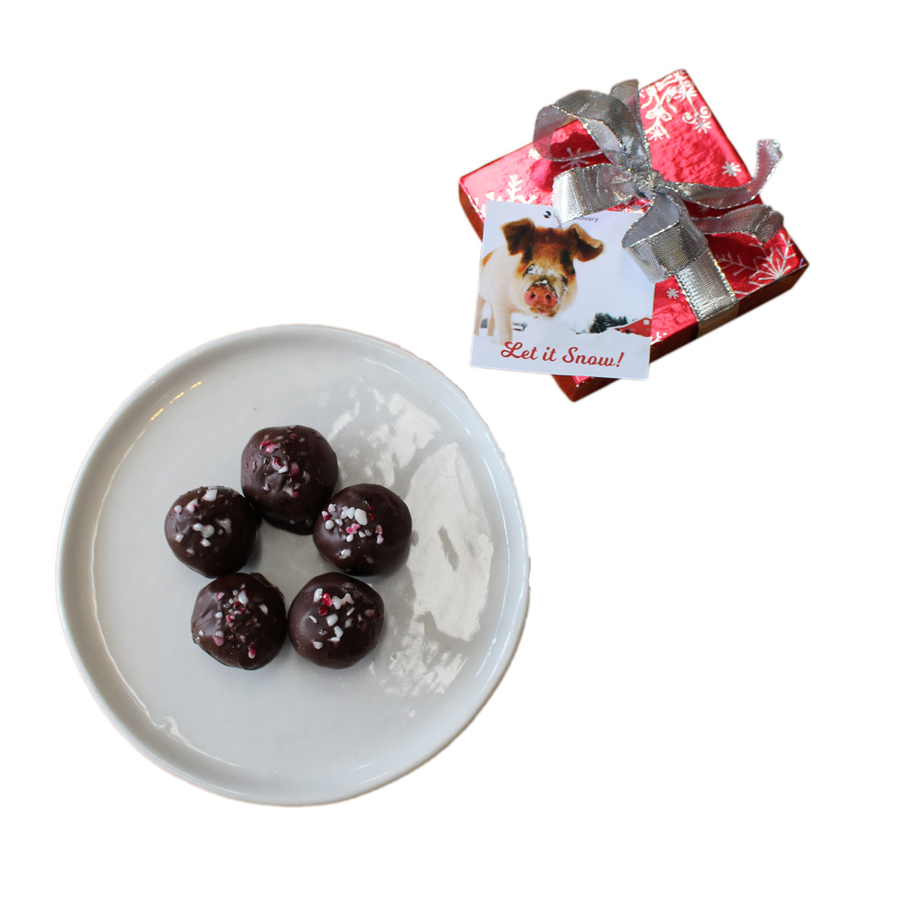 Farm Sanctuary Vegan Peppermint Truffles featuring Linus Pig