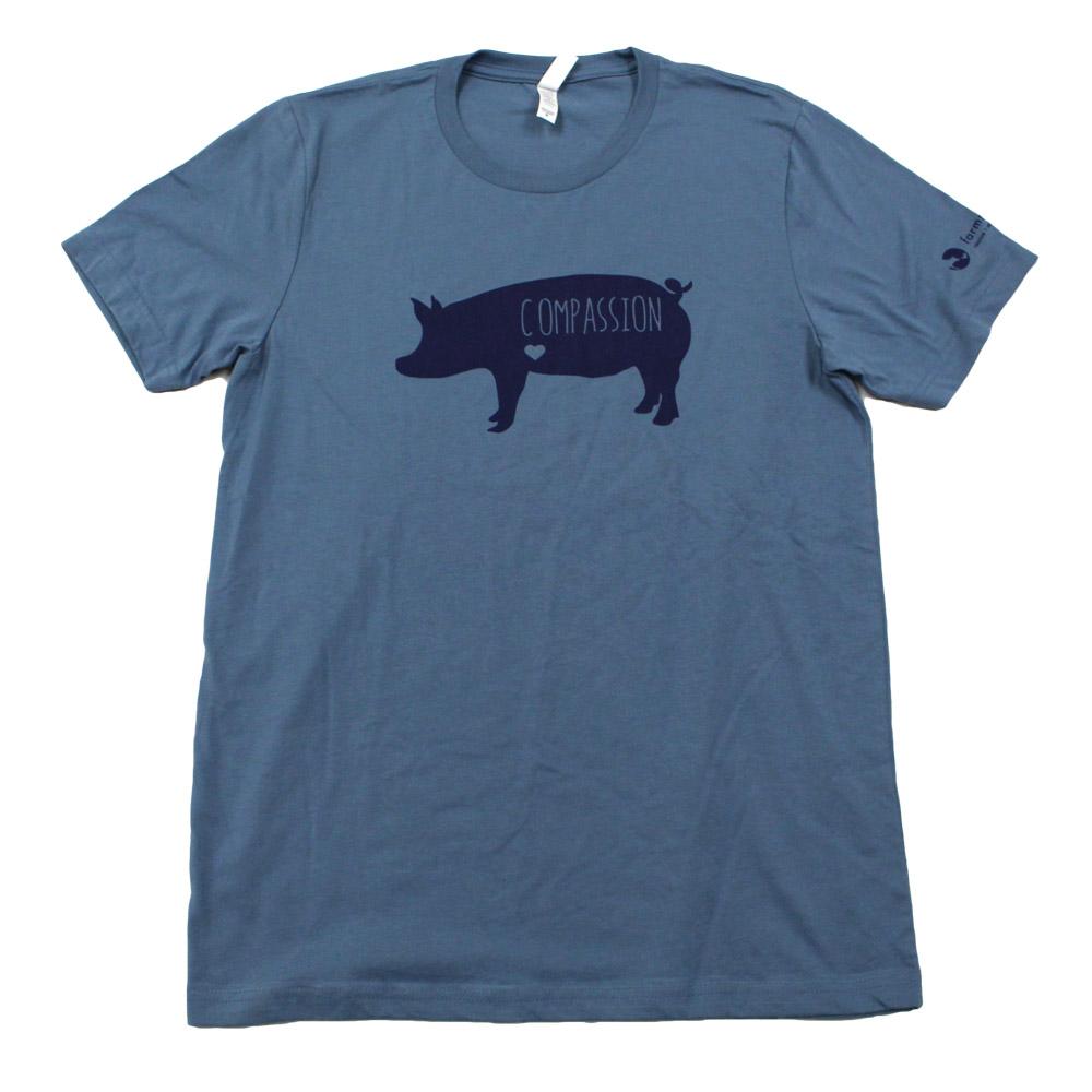 Farm Sanctuary Compassion Pig Unisex Tee (Blue)