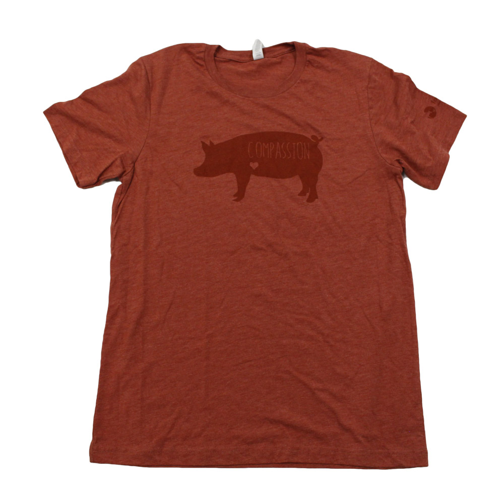 Farm Sanctuary Compassion Pig Unisex Tee (Red Clay)