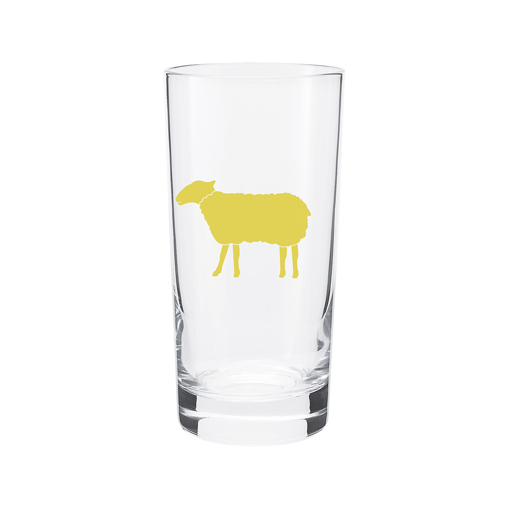 Farm Sanctuary Animal Water Glass Set - Yellow Sheep Glass
