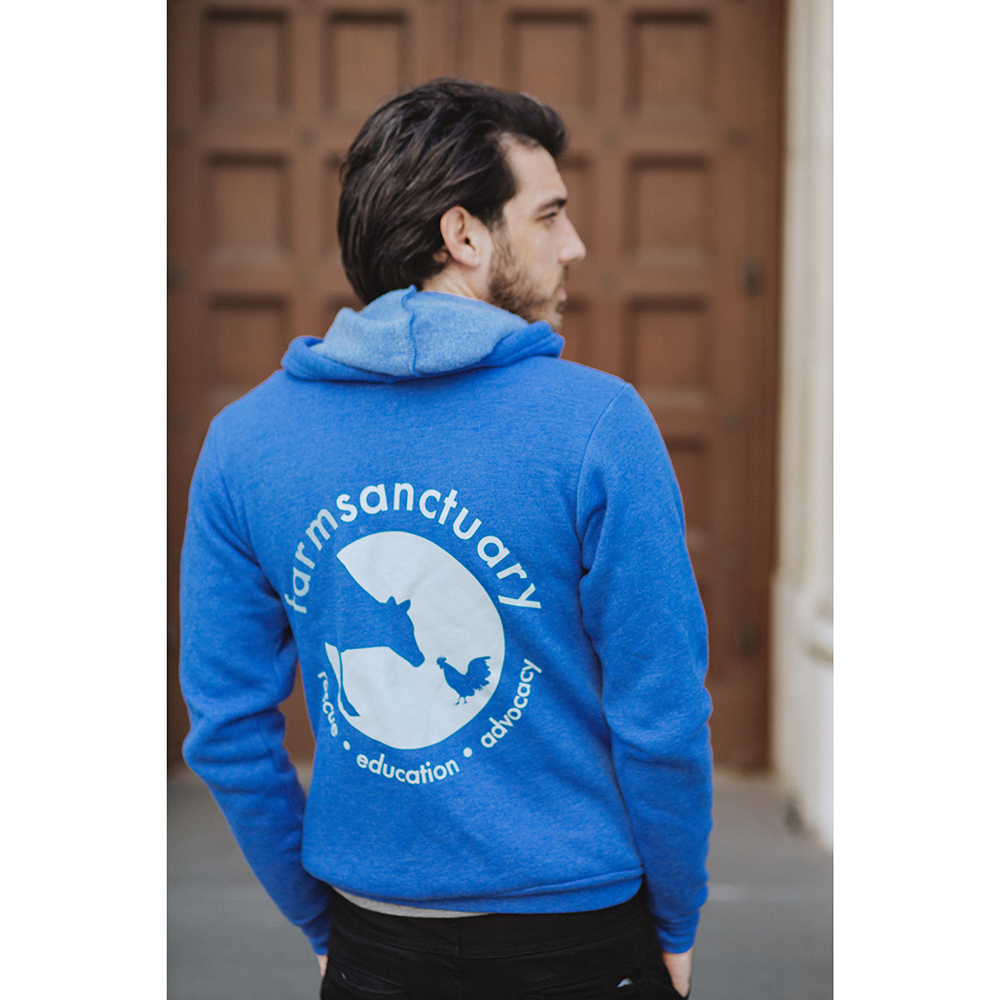 Farm Sanctuary Blue Logo Unisex Zip Hoodie