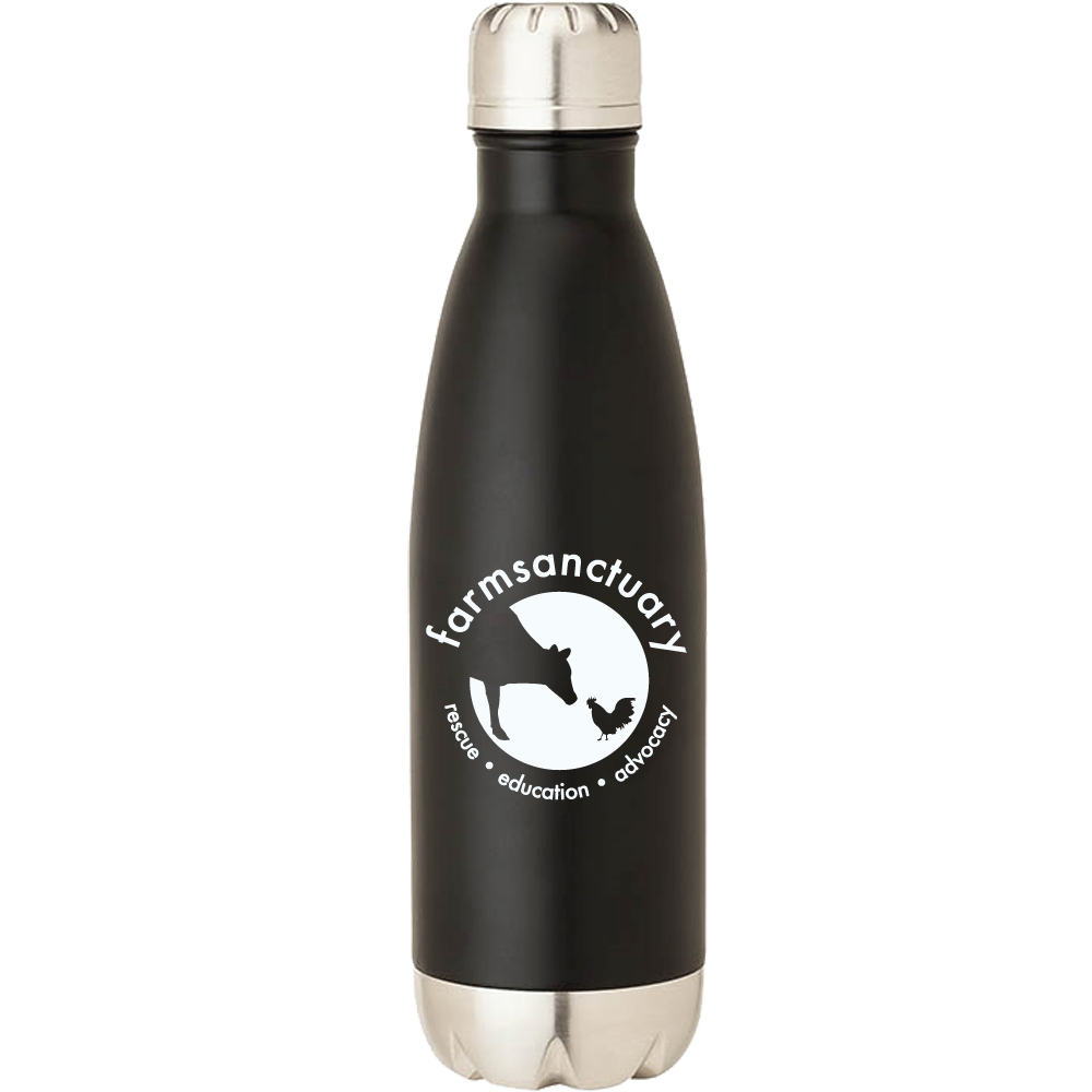 Farm Sanctuary Black and White Stainless Steel Logo Water Bottle
